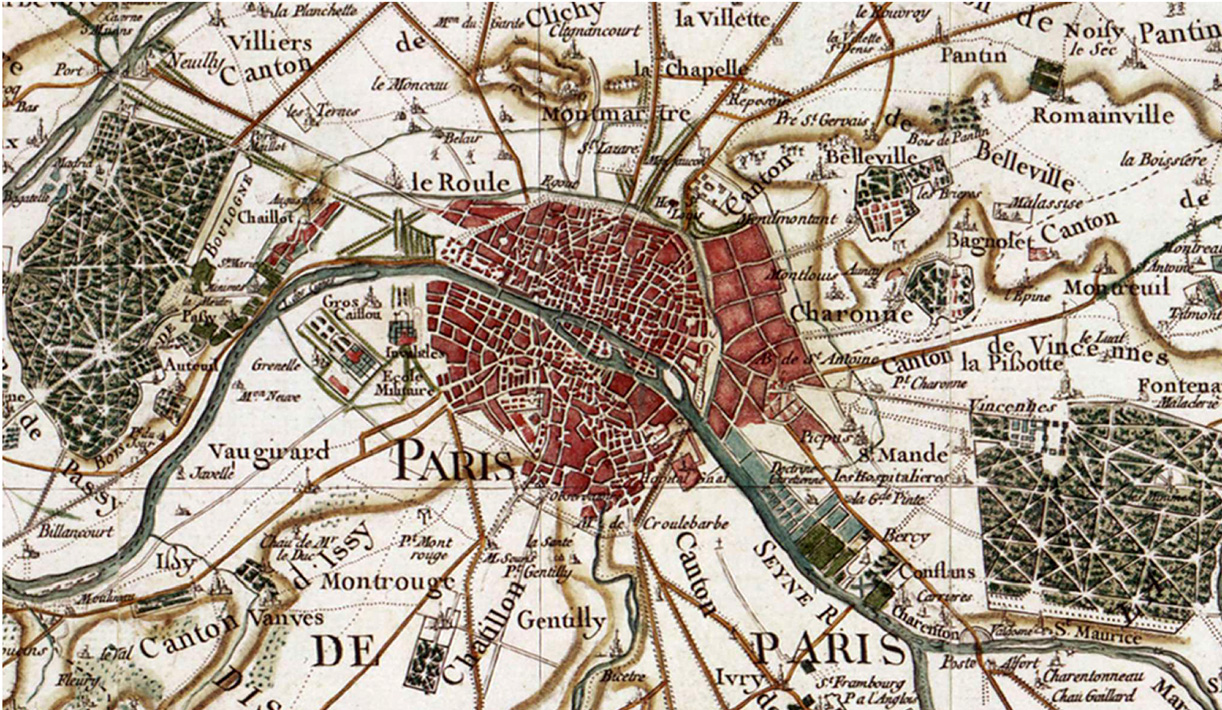 Un échantillon de la carte de Cassini (Paris).