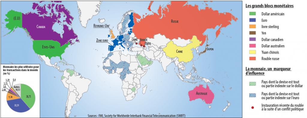 Blocs monétaires et sphères d'influence géostratégiques