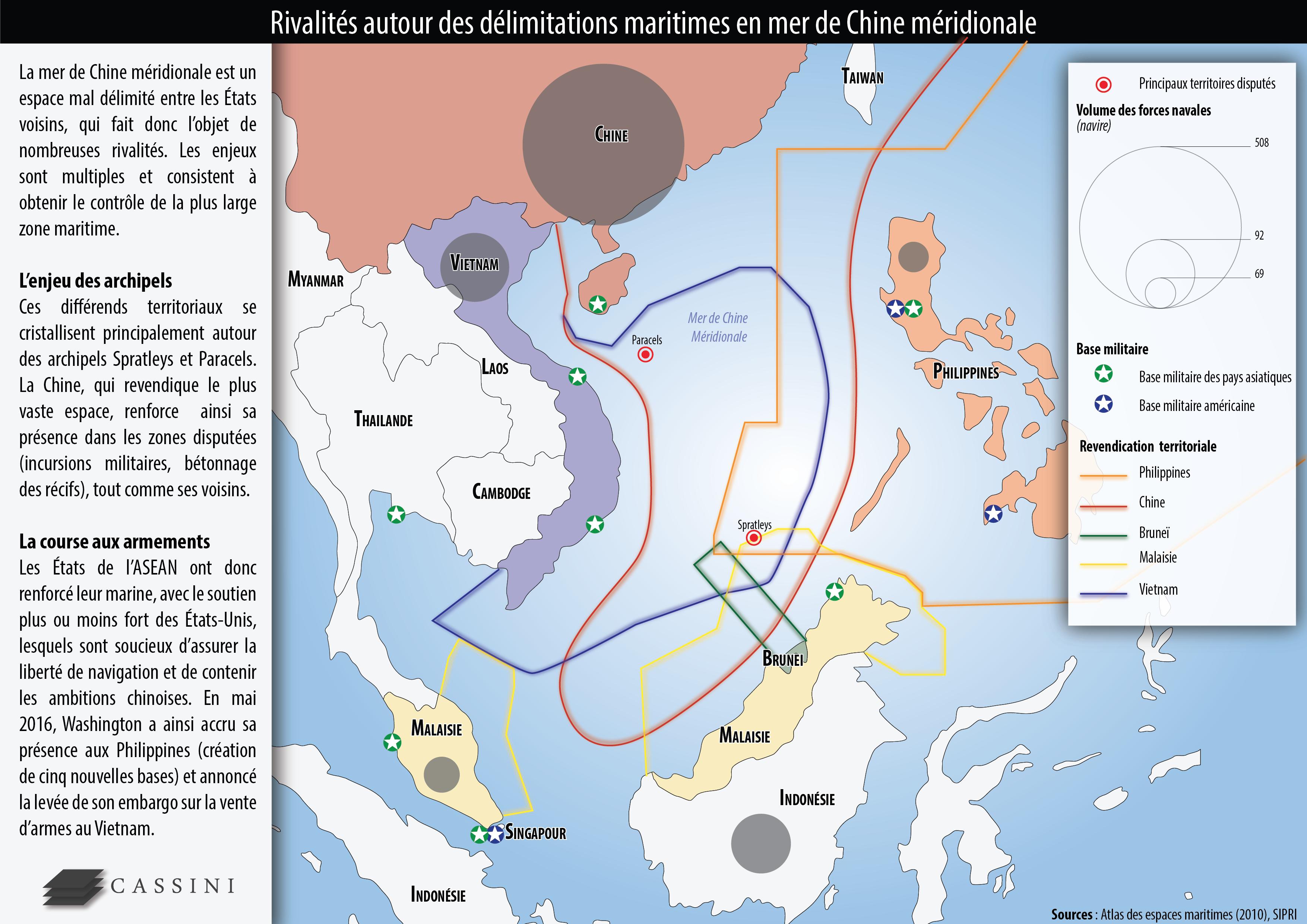 Carte Chine Philippines.Enjeux Et Rivalites En Mer De Chine Meridionale Cassini